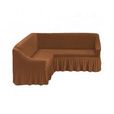 Чехол на угловой диван, 210 Коричневый (Tutun)