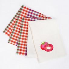 К-т полотенец лен/п/л отб/пестр 3-50х70 вышивка Фазенда томат (по 5)