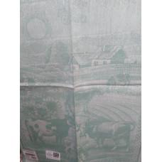 Полотенце 1860аЯК х/б пестр бел/цв 50х70 жакк На лугу бирюза (по 20)