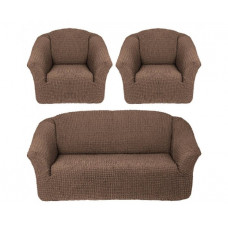 Комплект стрейч чехлов без оборки (диван+2кресла) 205 Какао (Kakao)