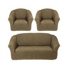 Комплект стрейч чехлов без оборки (диван+2кресла) 228 Фисташк. (Fistik Yesil)