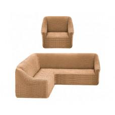 Комплект стрейч чехлов без оборки на угл.диван и кресло 203 Медовый (Bal)