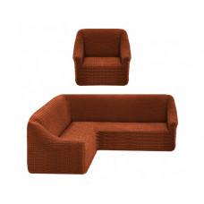 Комплект стрейч чехлов без оборки на угл.диван и кресло 209 Т-коричн. (Kahve)