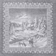 Салфетка 16с-11ЯК х/б пестр бел/цв жакк 45х45 Рождество в лесу сер (по 50)