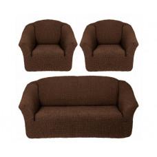 Комплект стрейч чехлов БО-311 без оборки (диван+2кресла) 201 Шоколад. (Koyu Kahve)