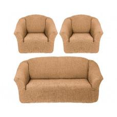Комплект стрейч чехлов БО-311 без оборки (диван+2кресла) 203 Медовый (Bal)