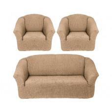 Комплект стрейч чехлов БО-311 без оборки (диван+2кресла) 212 Молочный (Sutlu)