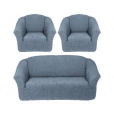 Комплект стрейч чехлов БО-311 без оборки (диван+2кресла) 216 Серый (Gri)