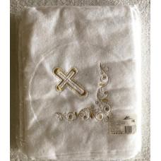 Полотенце махровое отбеленное детское с вышивкой С140/3-ЮА 95x95 (4411, Крестильная простынка, золот