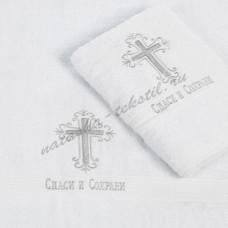 Полотенце махровое для крещения с вышивкой б/а 100x100 (286, Крестик)