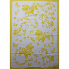 Одеяло х/б байк. детс.арт.57-8ЕТЖ разм.140х100 (желтый цветочные лошадки)
