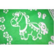 Одеяло х/б байк. детс.арт.57-8ЕТЖ разм.140х100 (зеленый цветочные лошадки)