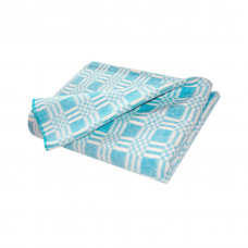 Одеяло взр.байковое арт.5772В разм.205х140 (бирюзовый комбинированная клетка)